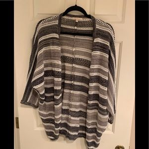 Black, white and gray striped knit cardigan